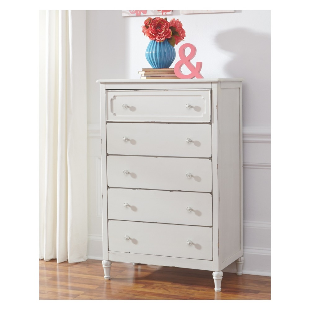 Faelene Five Drawer Chest Chipped White - Signature Design by Ashley
