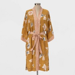Women's Floral Print Kimono - A New Day™ Brown