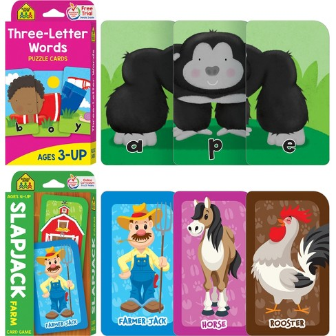 Get Ready Game Cards 2-pack - Three-Letter Words & Slapjack Farm, Ages 4-Up (School Zone Publishing)