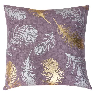 Décor Therapy 20 x20  Francesca Flynn Feather Foil Throw Pillow Purple/Gold