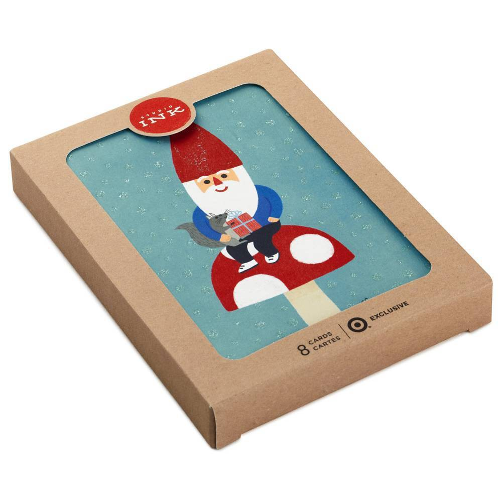 Image of 8ct Hallmark Santa Mushroom Christmas Greeting Cards