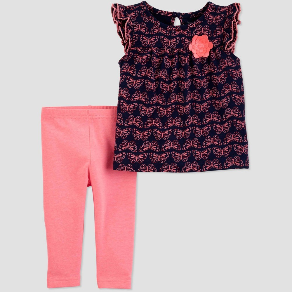 Baby Girls' 2pc Butterfly Top And Bottom Set - Just One You made by carter's Navy Blue/Pink 9M