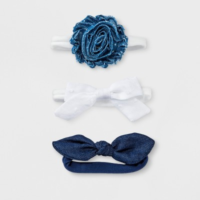 Baby Girls' 3pk Headband Set - Cloud Island™ White/Blue