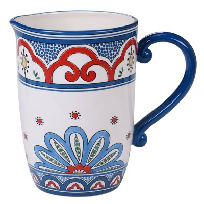 96oz Earthenware Tangier Beverage Pitcher Blue - Certified International