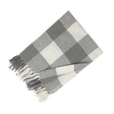 "Farmhouse Living Buffalo Check Fringe Blanket Throw - 50"" x 60"" - Elrene Home Fashions"