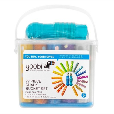Yoobi Washable Chalk with Chalk Holders with 2 holders and 20 Chalk Piece - Multicolor (22pk)
