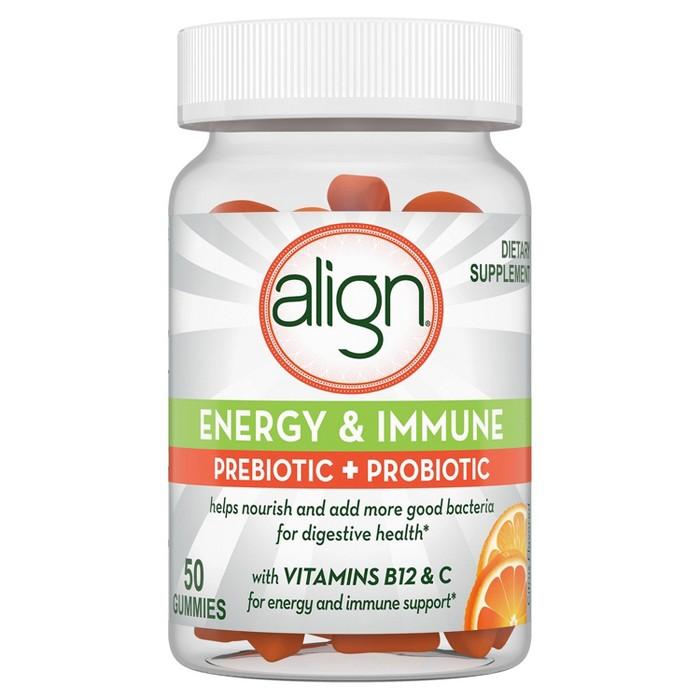 Align Energy & Immune Orange Pre+Probiotic Gummies - 50ct - image 1 of 6