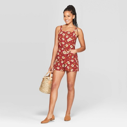 Women's Floral Print Sleeveless Square Neck Belted Romper - Xhilaration™ Rust - image 1 of 3