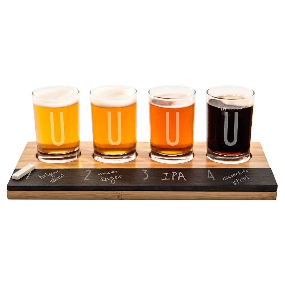 Cathy's Concepts 4pc Monogram Bamboo & Slate Craft Beer Tasting Flight U, Brown Clear