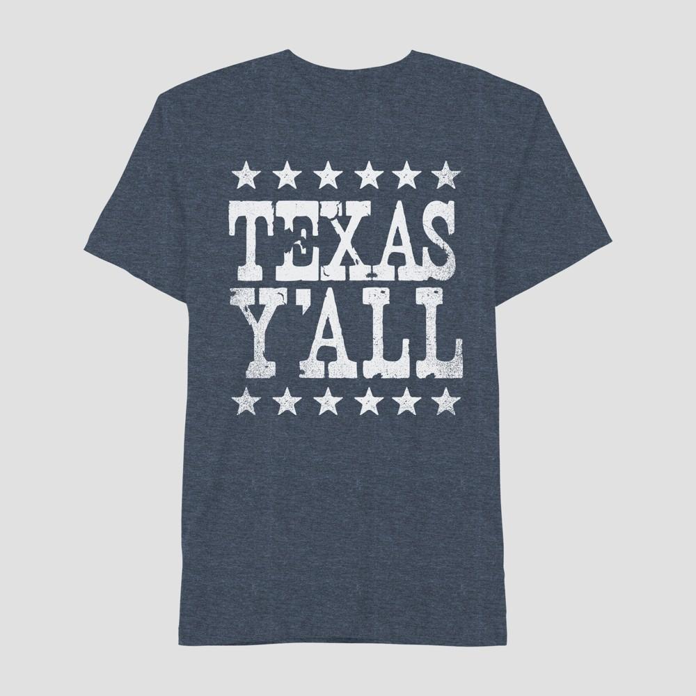 Men's Short Sleeve Texas Ya'll Graphic T-Shirt - Awake Navy S, Blue