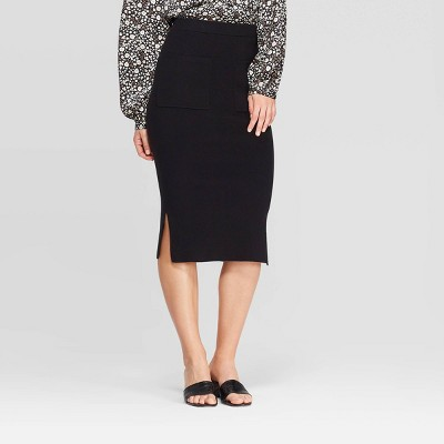 Women's High-Rise Below Knee Front Off Seam Pocket Sweater Skirt Who What Wear™ Black