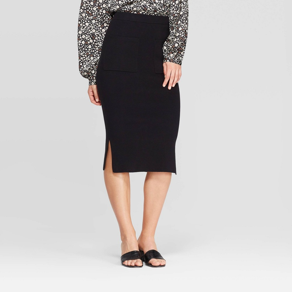 Image of Women's High-Rise Below Knee Front Off Seam Pocket Sweater Skirt - Who What Wear Black L, Women's, Size: Large