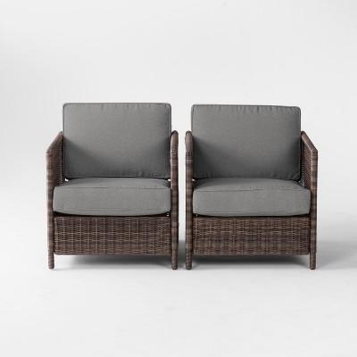 Monroe 2pk Wicker Motion Patio Club Chair - Gray - Threshold™