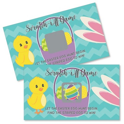 Big Dot of Happiness Hippity Hoppity - Easter Bunny Party Game Scratch Off Cards - 22 Count
