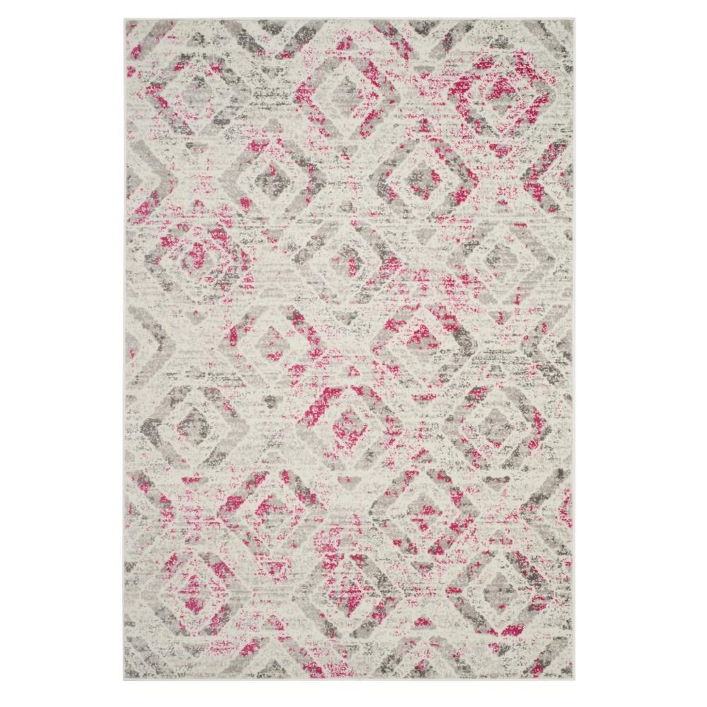 Ivory/Pink Geometric Loomed Area Rug 8'X10' - Safavieh