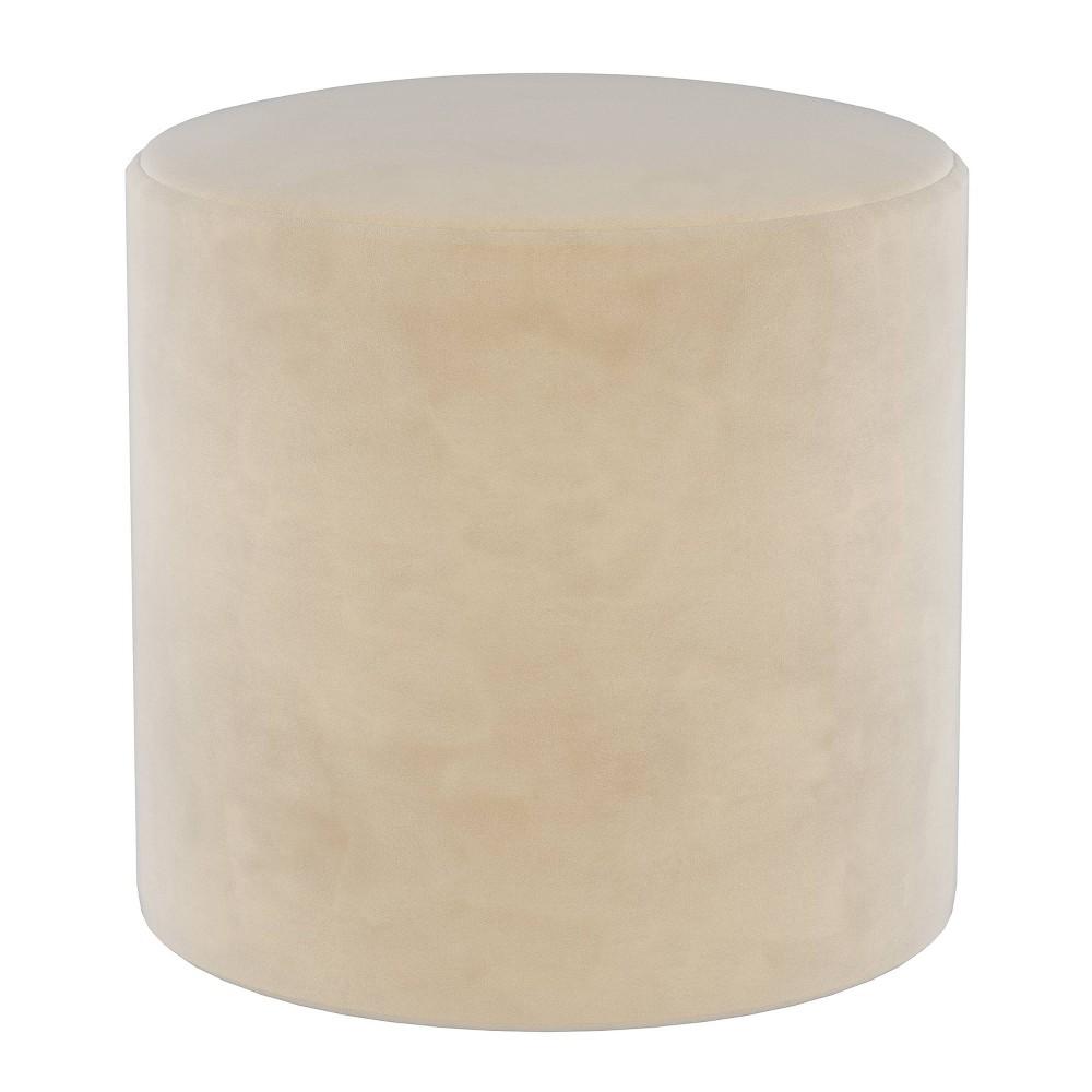 Round Ottoman in Velvet Cream (Ivory) - Project 62