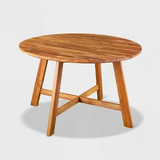 Anbrough Round Patio Dining Table - Brown - Aiden Lane