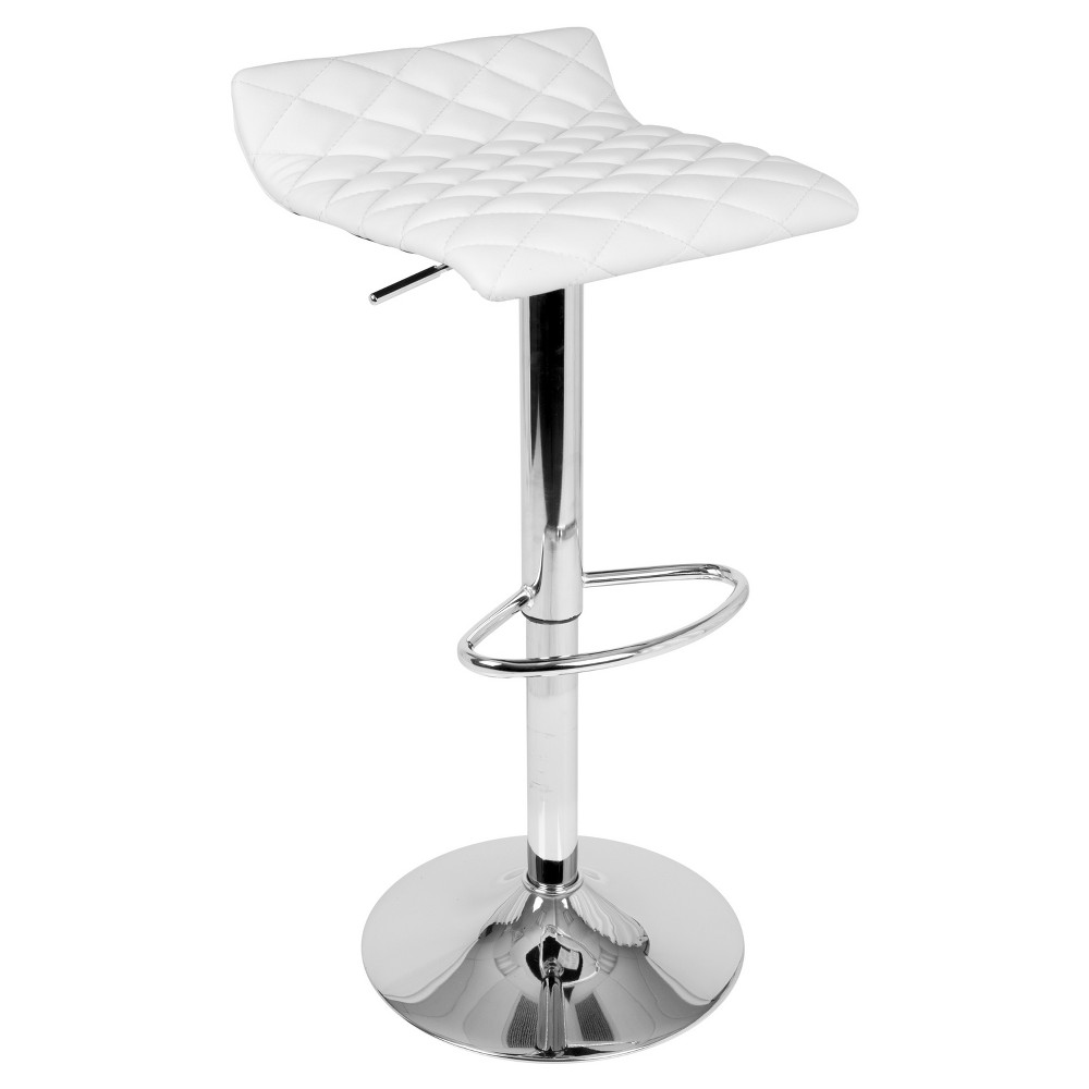 Cavale Contemporary Quilted Adjustable Barstool - White - Lumisource