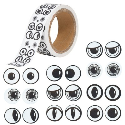 Ready 2 Learn Creative Sticker Roll - Eyes - Black and White - 2,000 Self-Adhesive Stickers - 10 Different Pairs of Eyes - Make Your Own Face