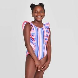 Girls' Sea Treasure Stripe One Piece Swimsuit - Cat & Jack™ Blue