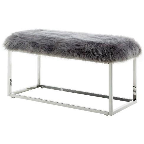 Joseph Grey Faux Fur Bench - Chrome Frame - Ottoman in Gray - Posh Living - image 1 of 3