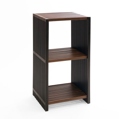 3 Tier Folding Cube Bookcase Shelf Black Walnut Seville Classics