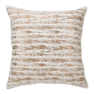 "20"" Down Filled Foil Print Faux Fur Pillow Gold - Saro Lifestyle"
