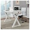 "Home Office 48"" Glass Metal Computer Desk - White - Saracina Home - image 2 of 3"