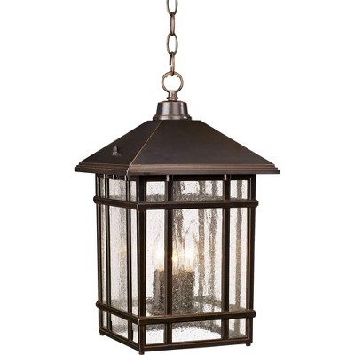 "Kathy Ireland J du J Sierra 16 1/2""H Bronze Outdoor Hanging Light"