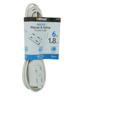 Woods 6' Extension Cords White