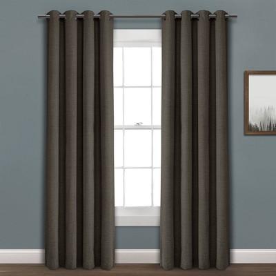 """84""""x52"""" Faux Linen Absolute Blackout Grommet Top Single Window Curtain Panel Charcoal - Lush Décor"""