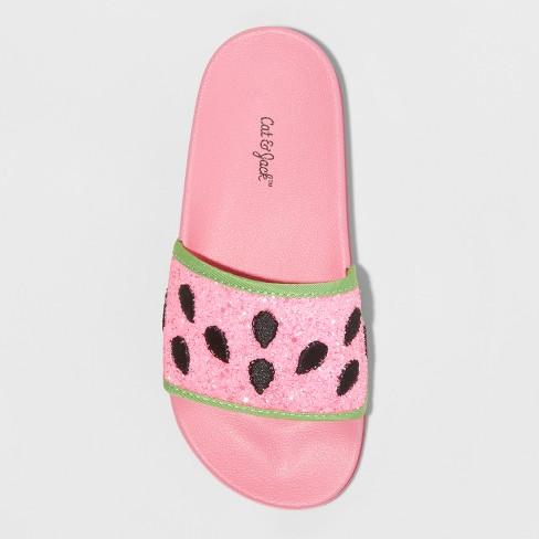 f1d604b00537 Girls  Embellished Watermelon Pool Slide Glitter Sandals - Art Class ...
