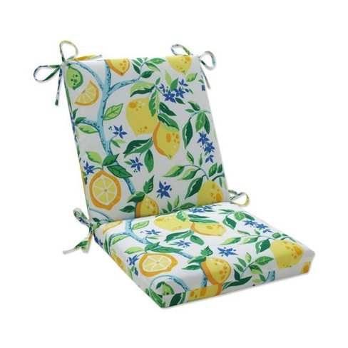 Outdoor/Indoor Lemon Tree Yellow Squared Chair Pad Lemon Tree Yellow - Pillow Perfect - image 1 of 1