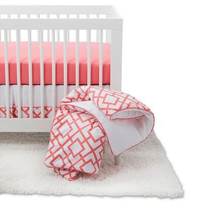Sweet Jojo Designs Crib Bedding Set - White & Coral Mod Diamond - 11pc