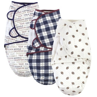 Hudson Baby Infant Boy Quilted Cotton Swaddle Wrap 3pk, Football, 0-3 Months