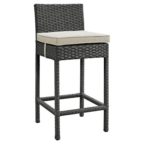 Sojourn Outdoor Patio Wicker Sunbrella® Bar Stool in Antique Canvas Beige - Modway - image 1 of 1