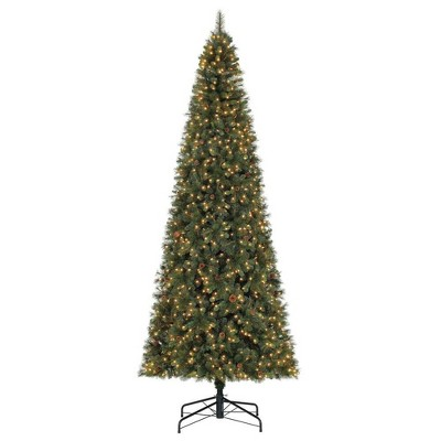 Home Heritage Albany 12' Pre-Lit Artificial Christmas Tree w/ Pine Cones & Stand