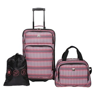 Skyline 3pc Luggage Set - Coral Grey Stripe