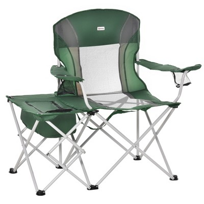 Outsunny Folding Camping Chair with Insulation Bag, Cup Holders And Side Table Director's Chair