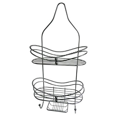 "Curved Shower Caddy with Soap Tray Light Silver 24.15"" - Elegant Home Fashions"
