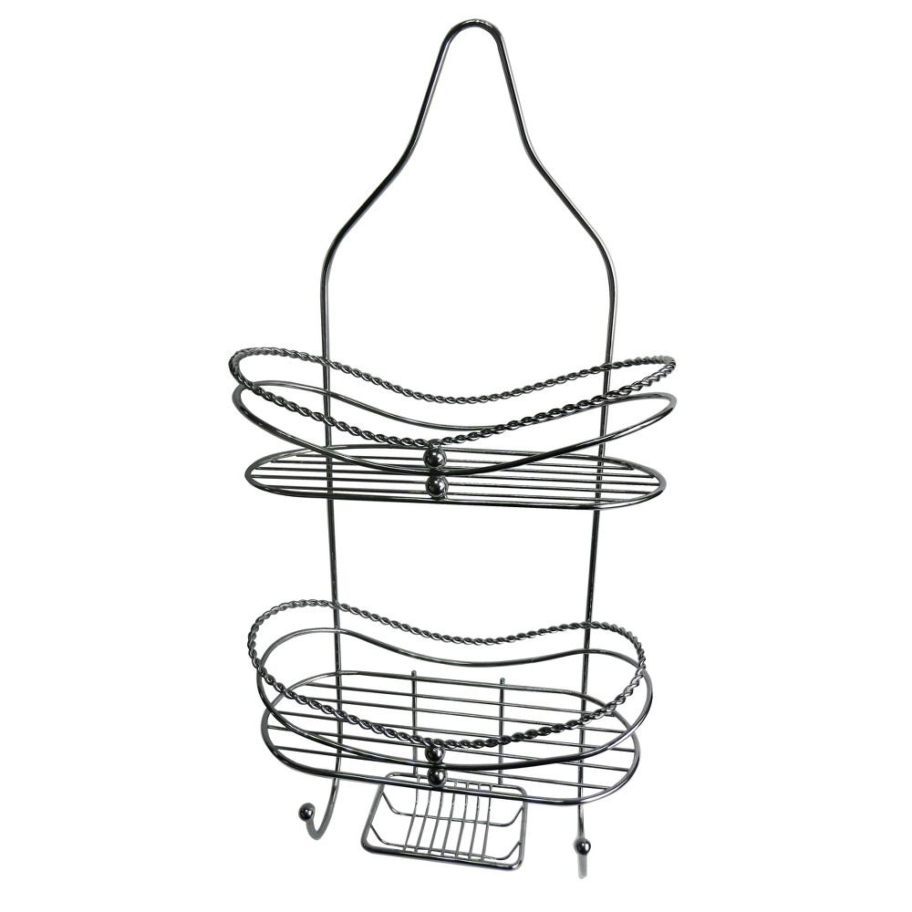 Image of Curved Shower Caddy with Soap Tray Light Silver 24.15 - Elegant Home Fashions
