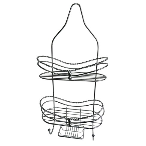 "Curved Shower Caddy with Soap Tray Light Silver 24.15"" - Elegant Home Fashions - image 1 of 1"