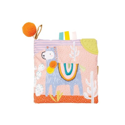 Manhattan Toy Llama Themed Soft Baby Activity Book with Squeaker, Crinkle Paper and Baby-safe Mirror