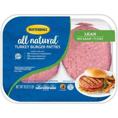 Butterball All Natural Fresh 93/7 Turkey Burger Patties - 1lb