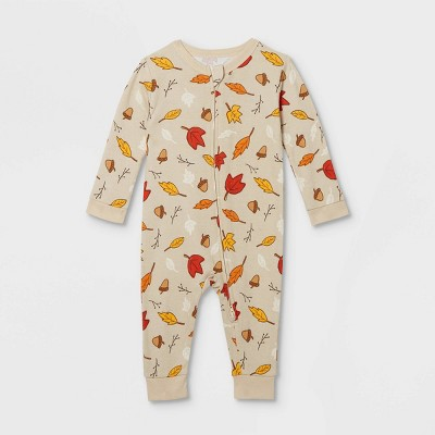 Baby Fall Leaf Print Matching Family Union Suit - Oatmeal 3-6M