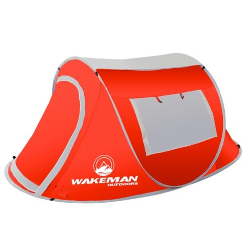 Wakeman Pop-Up Tent 2 Person Water Resistant Barrel Style Tent For Camping With Rain Fly and Carry Bag - Red - image 1 of 7