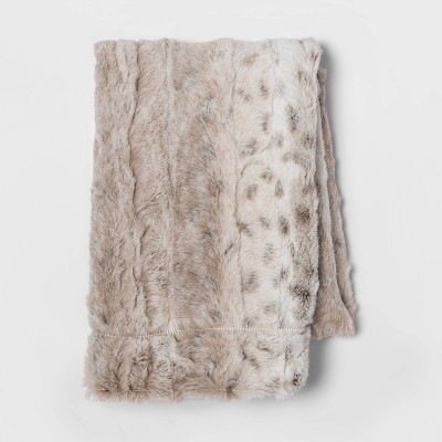 Standard Faux Fur Pillow Case Snow Leopard - Threshold™