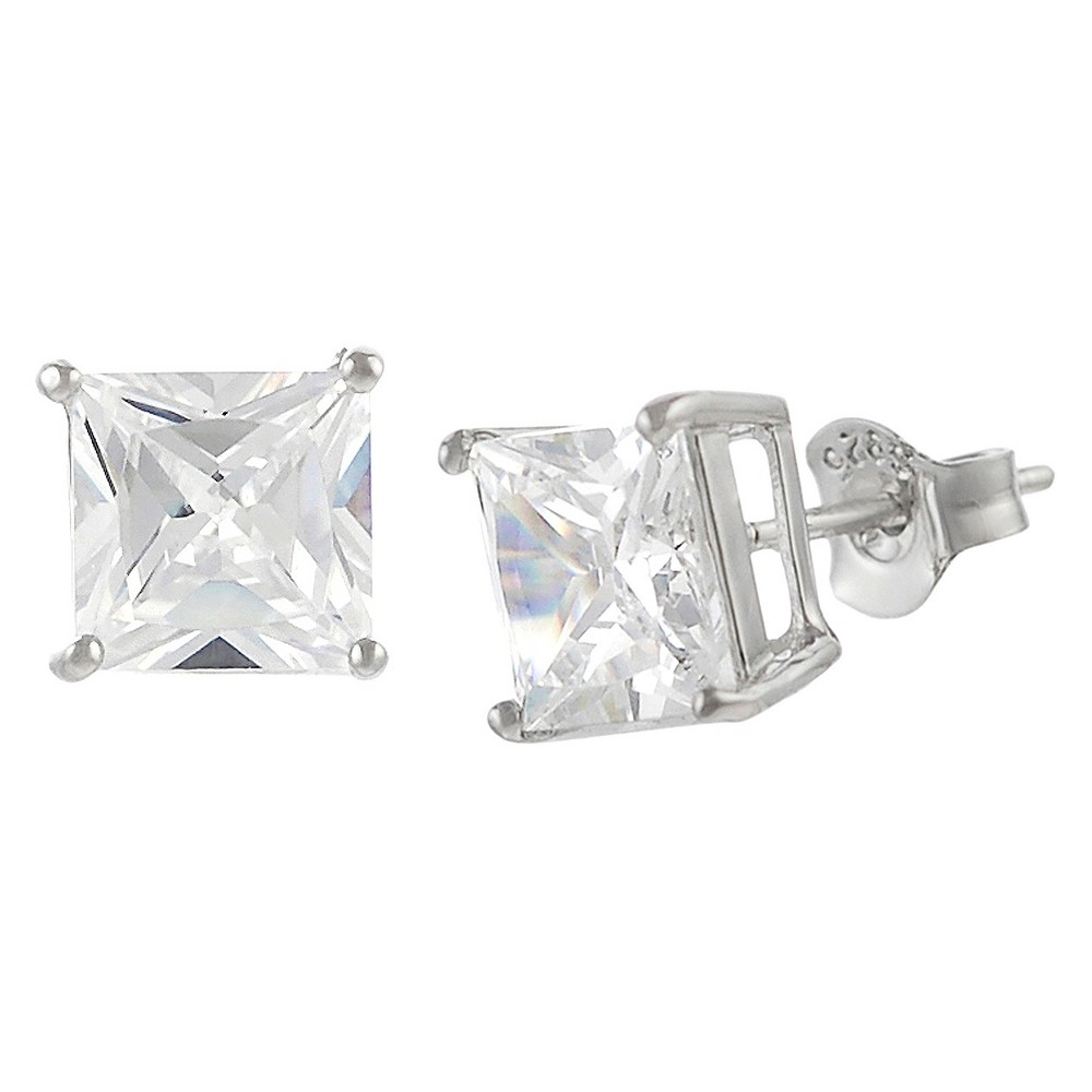 Tressa Collection Cubic Zirconia Square Stud Earrings, Girl's, Silver
