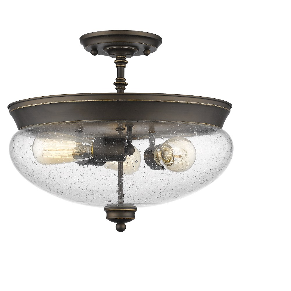 Semi Flush Mount Ceiling Lights with Clear Seedy Glass (Set of 3) - Z-Lite, Silver