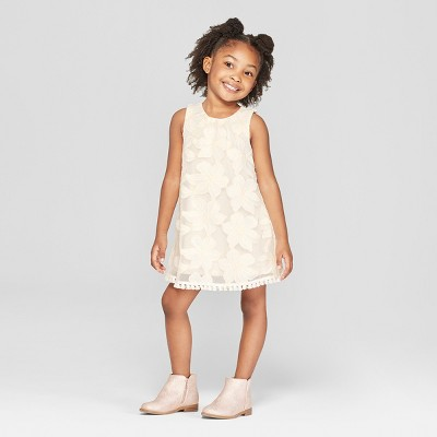 Toddler Girls' Floral Embroidered A-Line Dress - Genuine Kids® from OshKosh Cream 4T